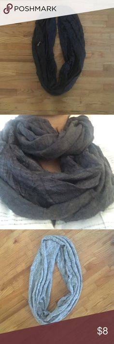 Scarf Two Infinity scarf. Soft material perfect for fall or winter. Dark and light grey Ya living  Accessories Scarves & Wraps