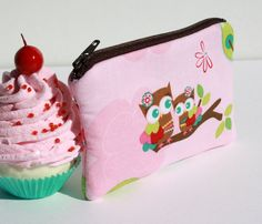 Pink Owl Girls Zipper Pouch Gadget Case
