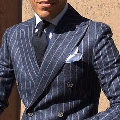 Viola Milano gives men an opportunity to express their own uniqueness and personality with individual twists to their outfits. Mens Fashion Suits, Men's Fashion, Mens Suits, Pinstripe Suit, Men Formal, Suit And Tie, Well Dressed Men, Gentleman Style, Double Breasted Suit