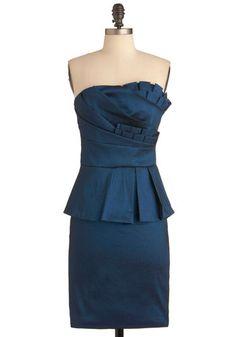 Midnight Reception Dress - Blue, Solid, Pleats, Formal, 80s, Sheath / Shift, Strapless, Wedding, Long, Peplum