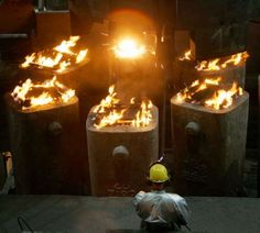 Ingot Casting, better known as Bottom Pouring. These ingots are for Rolling.