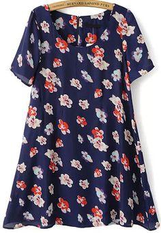 Floral Print Slim Blue Dress 16.67