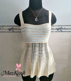 peplum tank top free #crochet pattern by Maz Kwok