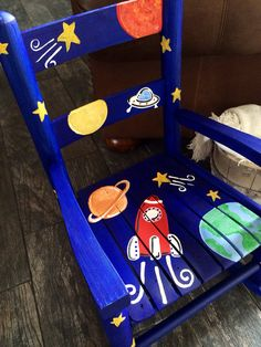Boys Rocking Chair - Rocket Ship - outer space  - child rocker - kids rocker - Child's rocking chair