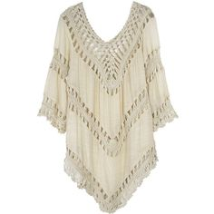 Tunic With Crochet Detail (53 BRL) ❤ liked on Polyvore featuring tops, tunics, stylemoi, blusas, shirts, beige, beige top, crochet detail top, beige tunic e brown tops