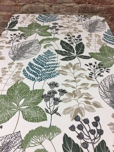 Tablecloth botanical, with various plants, white tablecloth with botanical motif by SiKriDream on Etsy