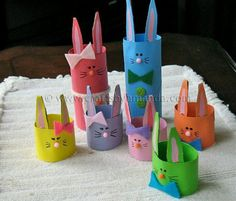 Cardboard Tube Crafts for Kids - Crafts by Amanda Kids Crafts, Easter Crafts To Make, Bunny Crafts, Family Crafts, Rabbit Crafts, Creative Crafts, Easter Egg Crafts, Easy Crafts, Hoppy Easter