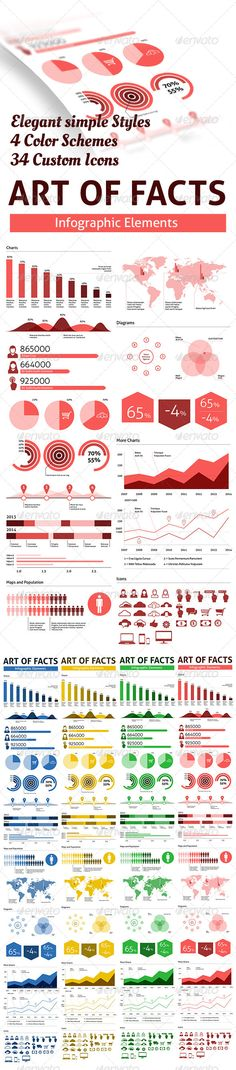 Arts of Facts - Clean Infographic Elements  #GraphicRiver        Elegant full vector infographic pack. - Included 34 original icons - 4 Color schemes, red, yellow, green and blue - Bar, pie and column charts - World map - CS 5 and AI10 EPS - Font used is free Aller  .fontsquirrel /fonts/Aller     Created: 19October13 GraphicsFilesIncluded: VectorEPS ElementsIncluded: PieChart #LineChart #BarChart #ColumnChart #Icons #Map Layered: No MinimumAdobeCSVersion: CS Tags: analysis #bar #business…