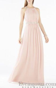2015 BCBG Celestine Beaded Halter Evening Gown