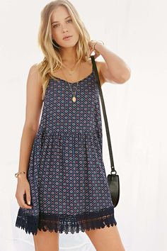 Love Sadie Crochet-Trim Trapeze Dress - Urban Outfitters