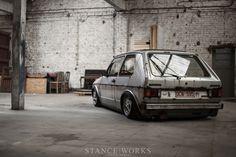 Stanced volkswagen MK1 golf Mmmmm teledials, gotta love porsche those wheels!