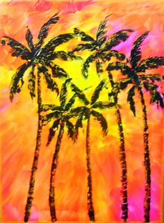 Modern Large  Beach Decor Ocean Decor  Palette Knife Thick Impasto Palm Tree Painting - by Kathleen Fenton