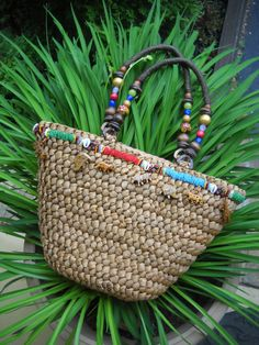 Vintage Unique Straw Safari Tote Purse w/ Eclectic Ethnic Beading and Little Whimsical Carved Exotic Wooden Animals on Etsy, $31.00