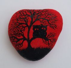 Owls-magnet-owls-painting-on-stone-stone