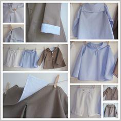 Ensemble veste et guimpe col marin et culotte courte en piqué de coton blanc