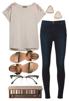 """""""I'm falling for your eyes, but they don't know me yet. It's a feeling I won't forget, I'm in love now"""" by mac-moses ❤ liked on Polyvore featuring mode, J Brand, MANGO, Mossimo Supply Co., Kendra Scott, Ray-Ban et Urban Decay"""