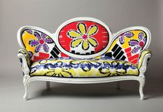 digitally printed upholstery fabric- Blu Girl Art