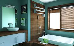 """The bathroom is where you do your """"business,"""" but that doesn't mean it can't look just as awesome as the rest of your house. In fact, you can let your imagination go full rein in there because it is self-contained and generally out of sight. That said, it could be totally awesome. Here are some ideas to get you started. Modern meets Downton Abbey This bathroom went full on black marble for the floor and pale yellow wallpaper and paint on th"""
