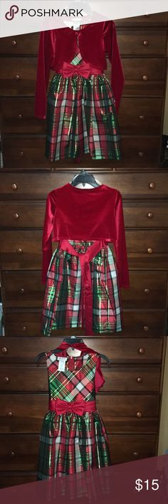 🎄 NWT Bonnie Jean Christmas Dress 🎄 New Bonnie Jean Christmas Dress. My daughter didn't have an opportunity to wear this one before she outgrew it. (She's blessed with a grandmother who buys her lots of clothes). It has a beautiful iridescent plaid design.  It is also sleeveless with a red velour shrug that came with it. Bonnie Jean Dresses