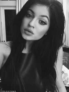 Fueling the fire? Kylie's full lips are clearly seen here in this black and white picture...