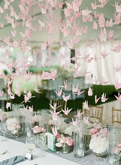 Pink paper cranes from Glamour and Grace