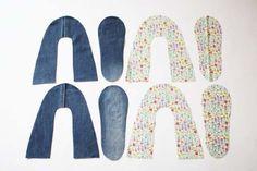청바지리폼(도안) 덧신만들기,패브릭DIY : 네이버 블로그 Sewing Tutorials, Sewing Crafts, Sewing Hacks, Sewing Projects, Sewing Patterns, Sewing Slippers, Crochet Slippers, Shoe Refashion, Crochet Slipper Pattern