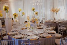 Yellow and Gray Wedding Reception Table Settings