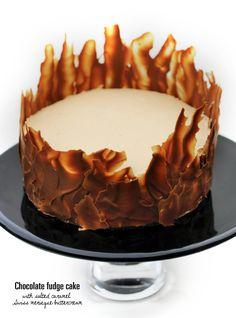 Chocolate fudge cake with salted caramel Swiss meringue buttercream   supergolden bakes