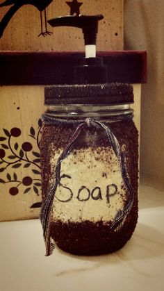 Grunged mason jar soap/lotion dispenser by CountryViewPrimitive, $10.00