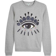 Womens Sweatshirts KENZO Grey Embroidered Jersey Sweatshirt found on Polyvore