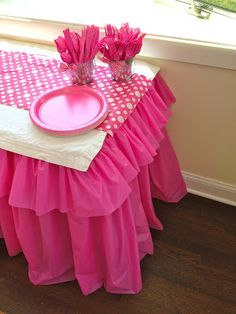DIY Pink Barbie Party A DIY Barbie birthday party with lots of pink decor. Easy ruffled tablecloth, DIY Barbie favors, a wall mounted TV cover, cupcake stand and more. Barbie Birthday Party, Barbie Party, 1st Birthday Parties, Girl Birthday, Birthday Ideas, Birthday Week, Birthday Diy, Ruffled Tablecloth, Plastic Tablecloth