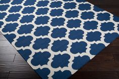 Frontier Area Rug | Blue Geometric Rugs Hand Woven | Style FT84