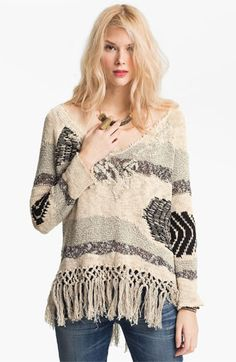 Free People 'Landscape' Fringed Sweater available at Nordstrom