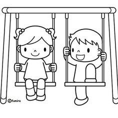 swing set coloring pages for kids Art Drawings For Kids, Drawing For Kids, Easy Drawings, Colouring Pages, Coloring Sheets, Coloring Books, Playground Swings, Coloring Pages For Kids, Clipart