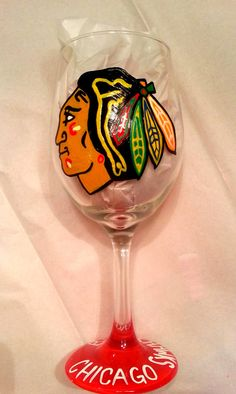 Chicago Blackhawks inspired Hand Painted 20 oz by SassySippings, $20.00