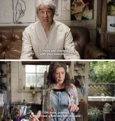 Grace & Frankie netflix series. Frankie in her boho artist look is wearing a Loco Lindo parrot camp shirt www.loco-lindo.com