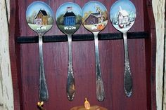 Painted Spoons Spoon Rack  Saltbox Four Season OFG by raggedyjan, $29.98  ~~~SOLD~~~ Painted Spoons, Stamped Spoons, Wooden Spoons, Hand Painted, Primitive Painting, Tole Painting, Painting On Wood, Painting & Drawing, Recycled Crafts
