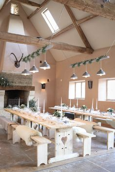 Banquet style wedding reception complete with grey galley shade loft-style chandeliers Winter Barn Weddings, Barn Wedding Venue, Wedding Show, Summer Weddings, Wedding Table, Wedding Reception, Wedding Company, Loft Style, Event Venues