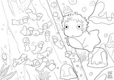Coloriage ponyo petite fille dessin imprimer for Ponyo coloring pages