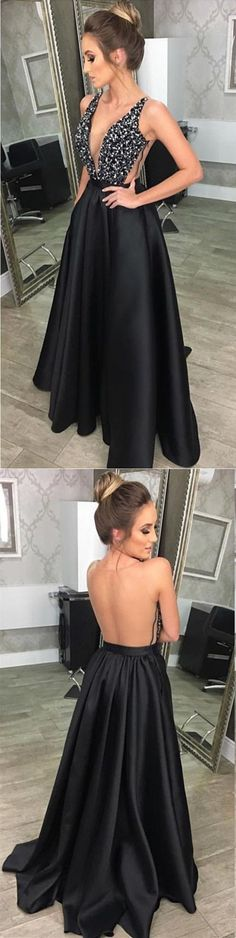 Women's Beaded V-neck Long Satin Prom Dresses 2018 Formal Evening P1950