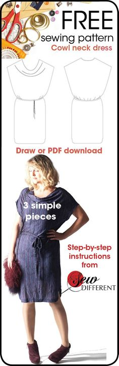 Free sewing pattern - cowl neck dress for women from Sew Different.