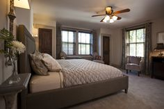 """The Thomas Wolfe Room features a king bed, two comfortable chairs, a 47"""" HDTV and DVD player, gas fireplace and spectacular bathroom!"""