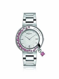 Ferragamo Women's FF5010013 Gancino Sparkling Silver/White Stainless Steel Watch