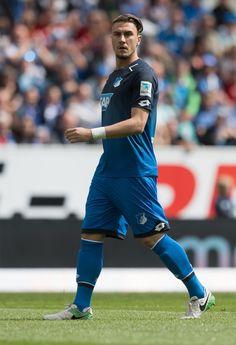 Ermin Bicakcic of Hoffenheim reacts during the Bundesliga match between TSG 1899 Hoffenheim and FC Augsburg at Wirsol Rhein-Neckar-Arena on May 20, 2017 in Sinsheim, Germany.