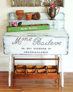 """Common Ground shared """"janet at the decorating diaries"""" drop leaf tablet turned potting bench--so cute!"""