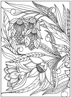 Coloring Book For Adult And Older Children Page With Vintage Flowers