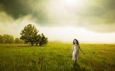 поле, девушка, настроение