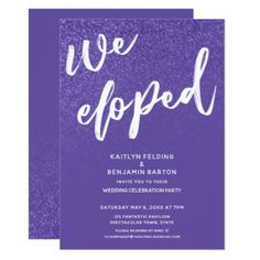 Watercolor violet lavender floral rehearsal dinner card wedding ultra violet moswen we eloped wedding reception card wedding gifts marriage love stopboris Gallery