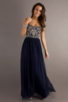 2014 Dark Navy Blue Prom Dresses Sweetheart Floor Length Chiffon St002 USD 129.99 VUPDGYA1M1 - VoguePromDressesUK