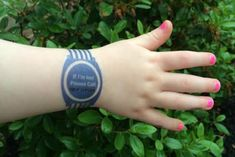 """Temporary tattoo """"watches""""printed with an emergency contact number. Really smart for theme parks, travel, toddlers."""